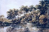 Thomas Girtin Famous Paintings - Trees and Pond near Bromley, Kent