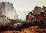 Valley Canvas Paintings - A View of Yosemite Valley