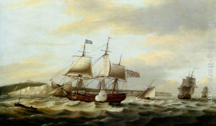 Thomas Luny A Merchant Ship Signaling for a Pilot of the Cliffs of Dover