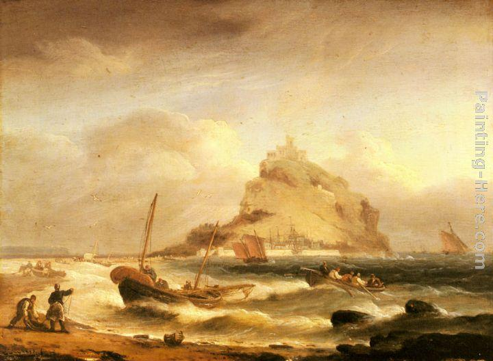 Thomas Luny Fishermen rowing in, before St. Michael's Mount