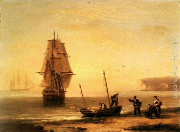 Thomas Luny Fishermen unloading the catch with a merchant ship in calm water off Brymer Bay, Devon