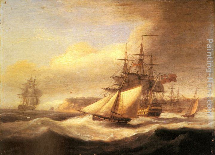 Thomas Luny Naval ships setting sail with a revenue cutter off Berry Head, Torbay