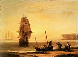 Famous Fishermen Paintings - Fishermen unloading the catch with a merchant ship in calm water off Brymer Bay, Devon