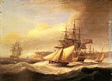 Thomas Luny - Naval ships setting sail with a revenue cutter off Berry Head, Torbay