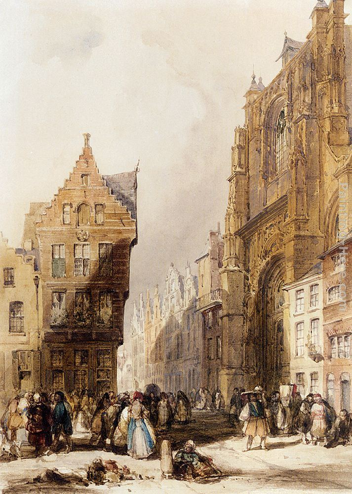 Thomas Shotter Boys Figures On A Street In A Market Town, Belgium