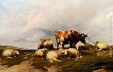 Thomas Sidney Cooper - A Cow And Sheep On The Cliffs