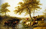 Famous Cattle Paintings - Cattle Resting By A Brook