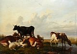 Thomas Sidney Cooper - Cattle and Sheep Probably in Canterbury Meadows