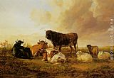 Thomas Sidney Cooper - Cattle and Sheep in a Field