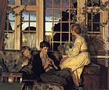 Viggo Christian Frederick Pedersen - A Mother and Children by a Window at Dusk