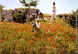 Viggo Christian Frederick Pedersen Picking Poppies, Sora painting