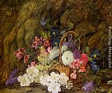 Vincent Clare Still life with a basket of flowers painting