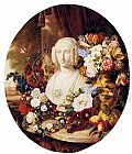 Virginie de Sartorius - A Still Life With Assorted Flowers, Fruit And A Marble Bust Of A Woman