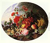 Virginie de Sartorius Still Life With Fruit and Flowers on a Rocky Ledge painting