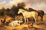 Walter Hunt - Ponies, A Calf and Poultry In a Farmyard