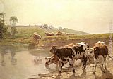 Famous Cattle Paintings - Cattle In A Pasture