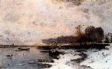 Wilhelm von Gegerfelt - A Winter River Landscape At Sunset