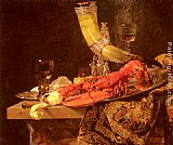 Famous Saint Paintings - Still Life with the Drinking-Horn of the Saint Sebastian Archers' Guild, Lobster and Glasses