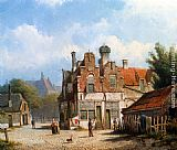 Town Canvas Paintings - A Dutch Town Scene