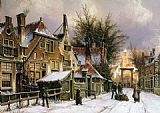 Willem Koekkoek - A Townview with Figures on a Snow Covered Street