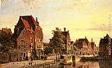Willem Koekkoek - Figures by a Canal in a Dutch Town