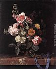 Willem van Aelst Vase of Flowers with Watch painting