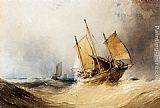 William Callow - A Fishing Smack And Other Shipping On Open Seas