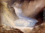 William Callow - Glacier Du Rhone And The Garlingstock, Pass Of The Furca, Switzerland
