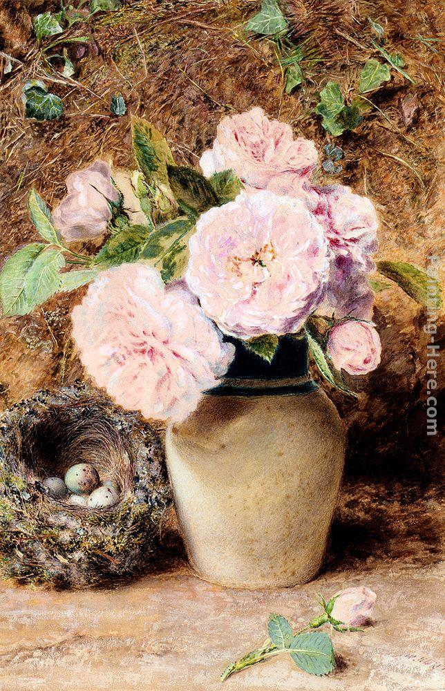 William Henry Hunt Still Life With Roses In A Vase And A Birds Nest