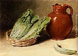William Henry Hunt - Still Life With A Jug, A Cabbage In A Basket And A Gherkin