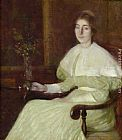William Howard Hart - Portrait of Adeline Pond Adams Seated in an Interior