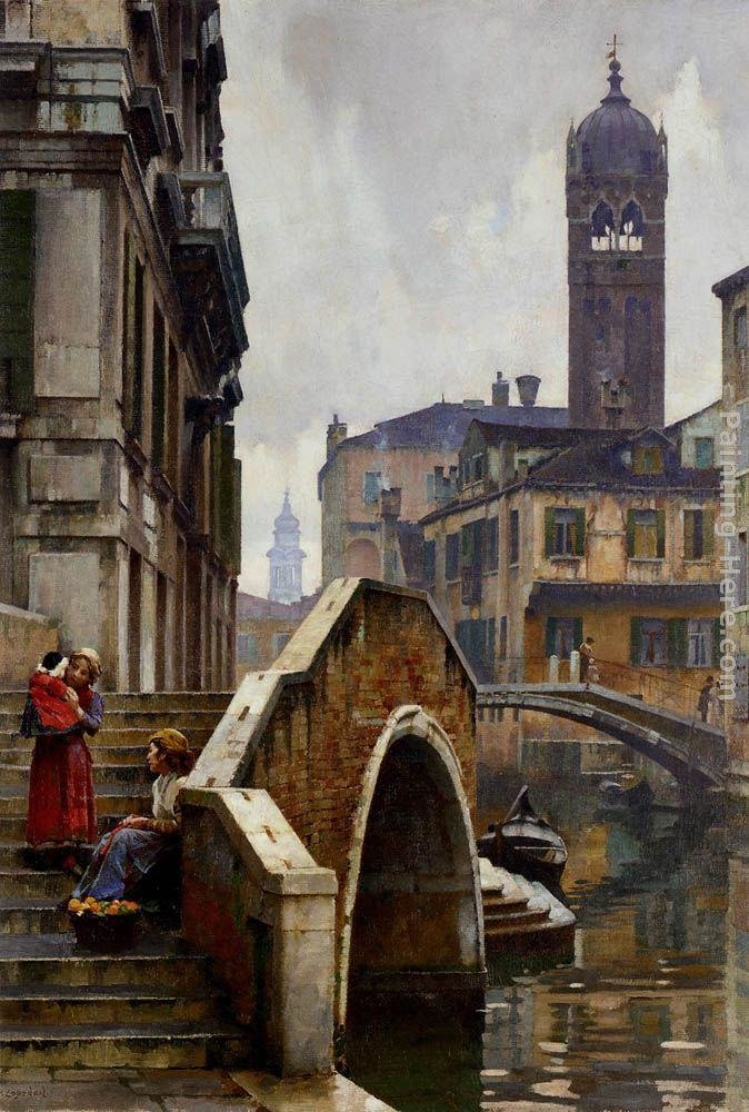 William Logsdail The Ponte dei Pugni, Venice, with the Campanile of Sta. Fosca beyond