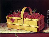 William Michael Harnett - A Wooden Basket of Catawba-Grapes