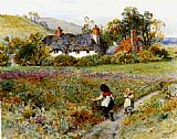 Path Canvas Paintings - Children Playing On A Path, Cottages Beyond