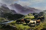 Stream Wall Art - Highland Cattle Grazing by a Mountain Stream