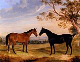 William Webb - Two Mares In A Landscape