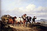 Wouter Verschuur - Horses Pulling A Hay Wagon In A Landscape