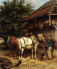 Wouterus Verschuur Jr - Two Horses By A Stable