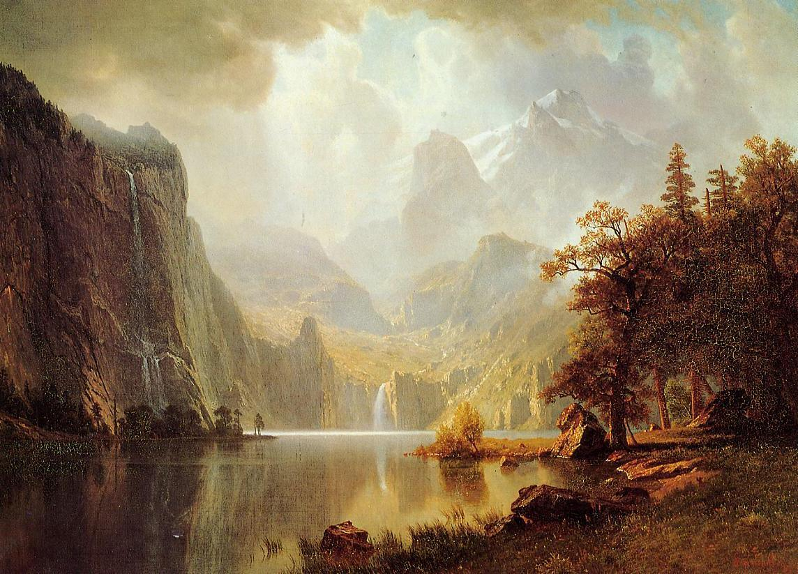 Albert bierstadt in the mountains painting framed for Prints of famous paintings for sale