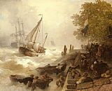 Andreas Achenbach - Hafeneinfahrt Bei Rauher See