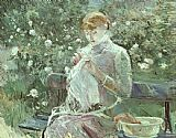 Berthe Morisot Young Woman Sewing in a Garden painting