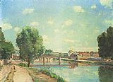 Bridge Canvas Paintings - The Railway Bridge at Pontoise