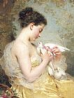 Beauty Canvas Paintings - A Beauty with Doves