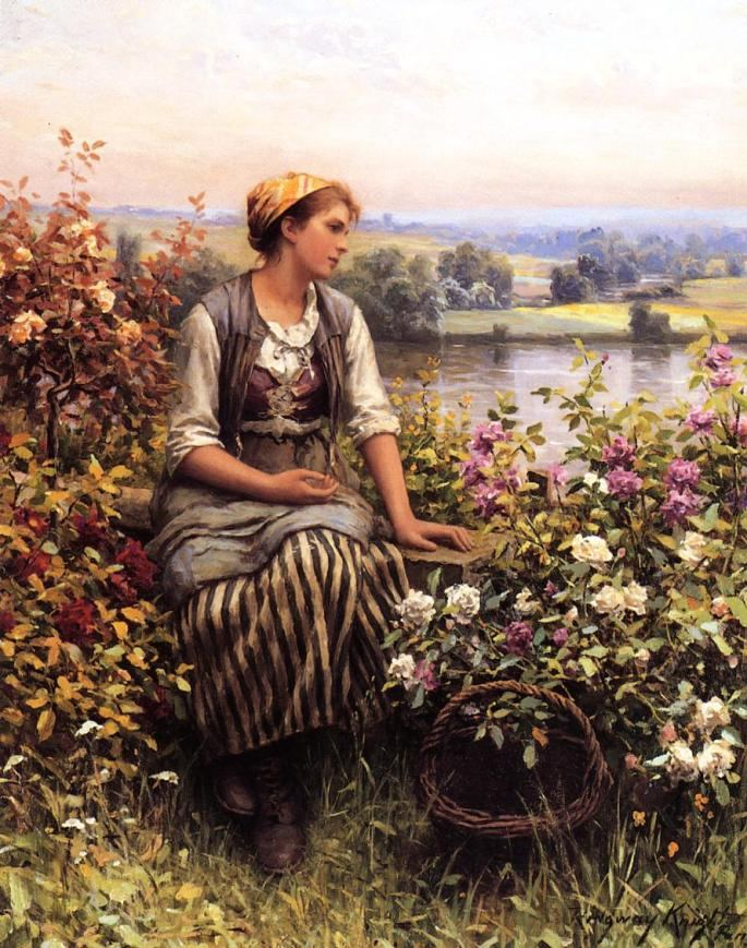 Daniel Ridgway Knight Knight Daydreaming