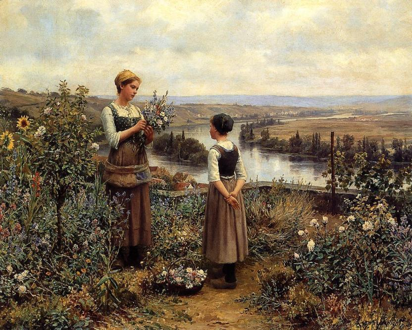 Daniel Ridgway Knight Knight Picking Flowers