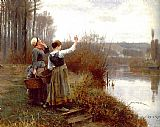 Daniel Ridgway Knight Hailing the Ferry painting