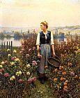Famous Basket Paintings - Girl with a Basket in a Garden