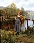 Famous Stream Paintings - Young Girl by a Stream