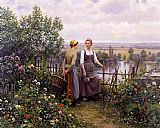 Daniel Ridgway Knight Maria and Madeleine on the Terrace painting