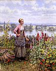 Daniel Ridgway Knight Maria on the Terrace with a Bundle of Grass painting